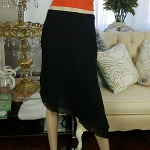 90's asymmetrical polyester double layer skirt